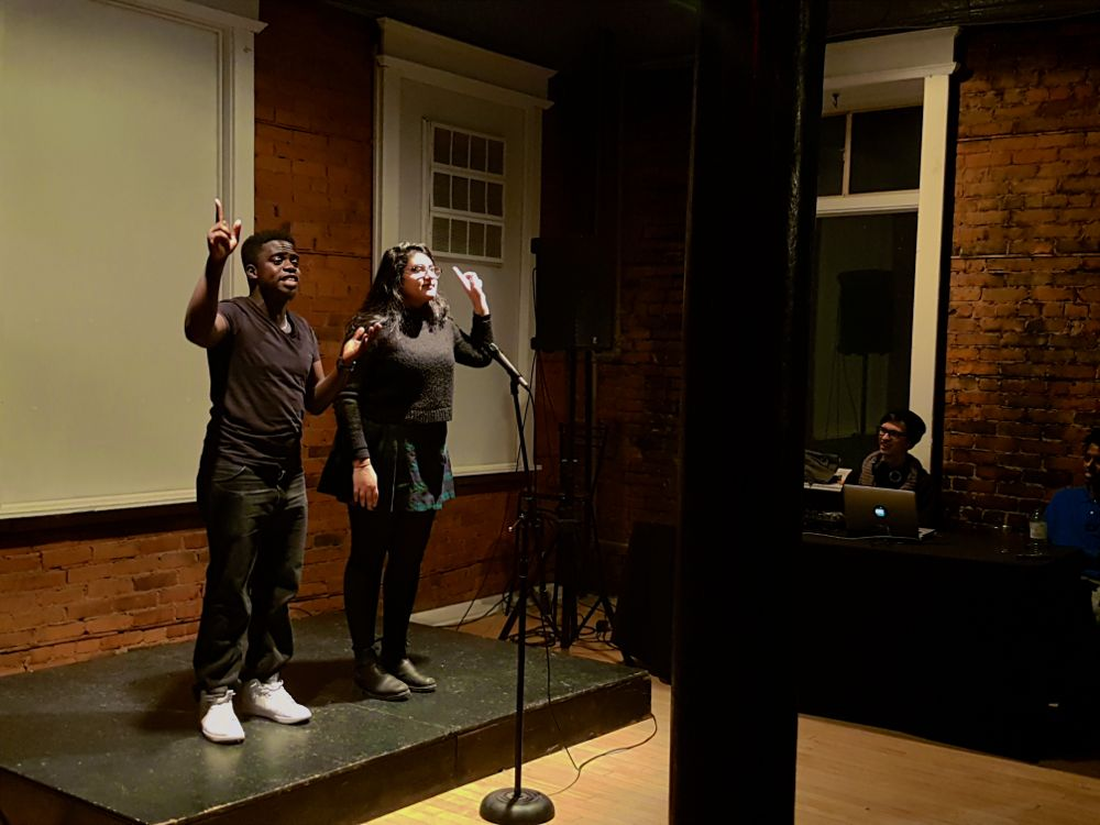 Eddie Lartey and Hira Nadeem at Hamilton Youth Poets Slam at The Spice Factory