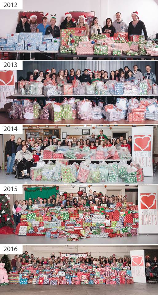 Friends With Hearts. Photos courtesy of Jay Perry. Not pictured: 2011 when Jay's mom wrapped all the gifts!