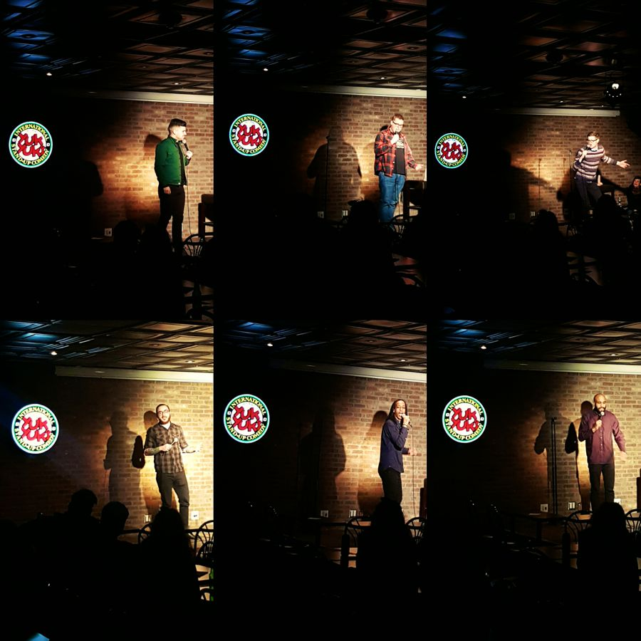 Performing at Yuk Yuks Hamilton. Clockwise: Zak McDonald, Jordan Scherer, Kev Sheeler, Isi Commisso, Black Zeus, Michael Moses