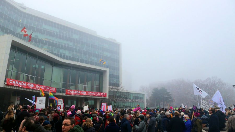 Women's March at Hamilton City Hall, January 2017. Photo by Seema Narula