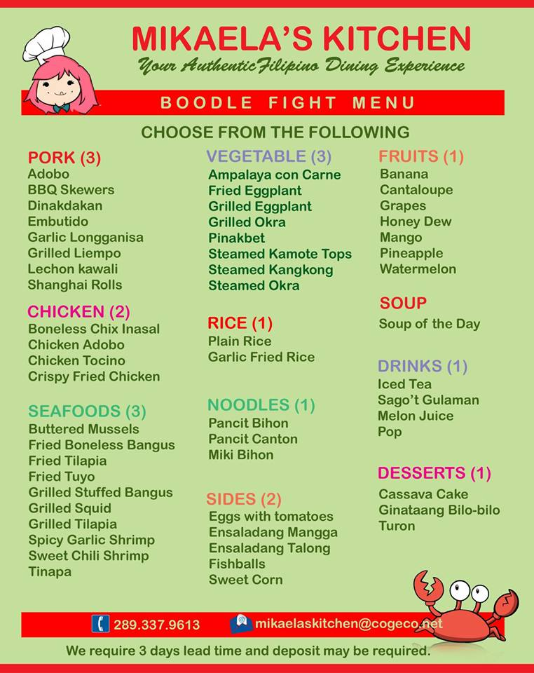 Mikaela's Kitchen Boodle Fight Menu